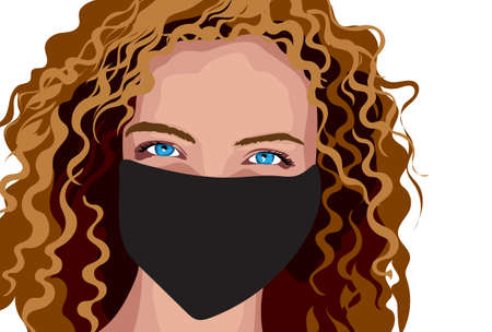 Blue eyed girl with brown curly hair in surgical mask