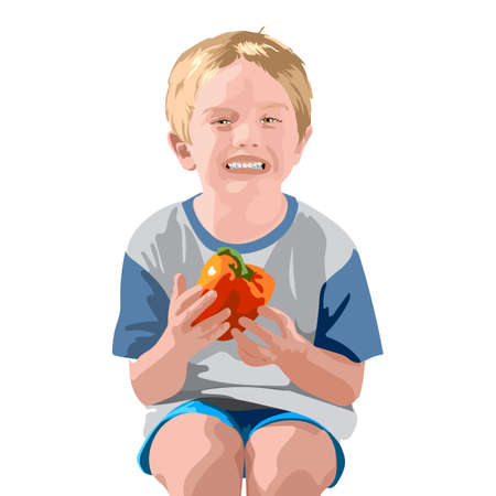 Blonde boy in blue shorts and t-shirt, smiling and holding a bell pepper Illustration