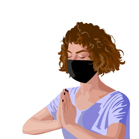 Brunette girl with curly hair in pink t-shirt and black surgical mask meditating Illustration