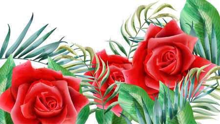 Floral composition with red roses, rosebuds and leaves. Vector Illustration