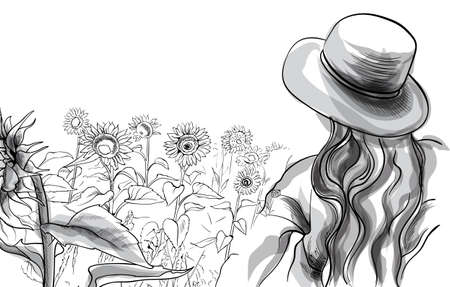 Long haired girl in a hat and blouse standing in sunflower field. Line art. Vector Stock Illustratie