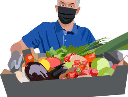Man wearing blue t-shirt, surgical mask and gloves holding a crate filled with strawberries, tomatoes, cherries, green onions, pomegranate, radish and lettuce. Home delivery of groceries. Vector Vettoriali