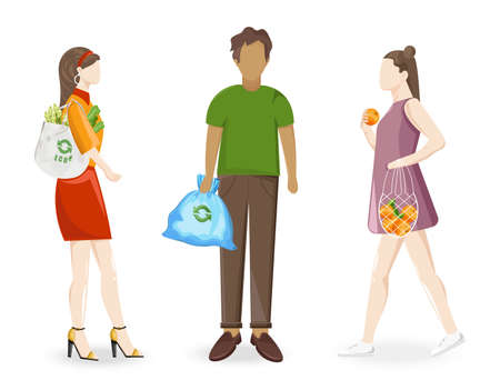 Man and women using reusable ecology bags when going to grocery store or taking out trash