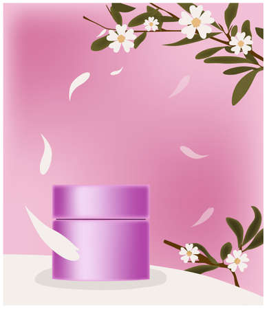 Pink cosmetic jar surrounded by petals. Place for brand. Twigs with flowers decoration 일러스트