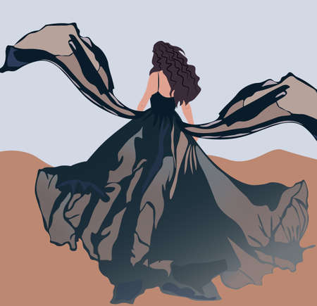 Brunette with curly hair and blowed by the wind black dress walking in the desert Illustration