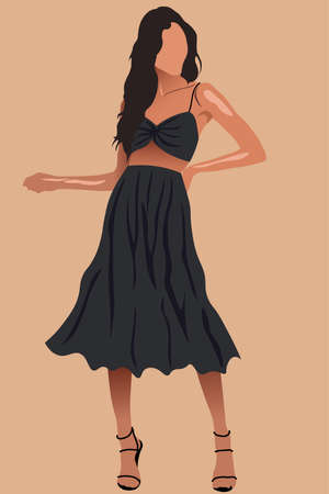 Glamorous tanned woman with long hair in black skirt, top and high heels Illustration