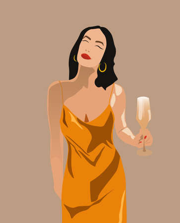 Adult woman in yellow dress with red lips, nails, golden earrings and a glass of champagne in her hand. Wishing something with closed eyes Ilustração