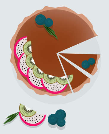 Chocolate cake with dragon fruit, kiwi and blueberry on top