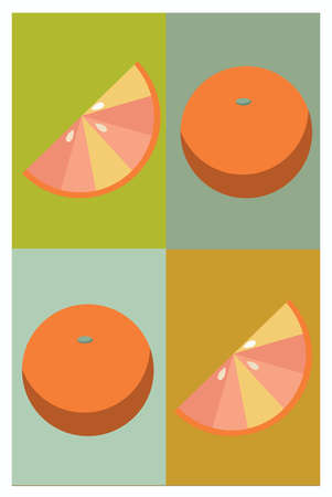 Flat style oranges and slices on different color background