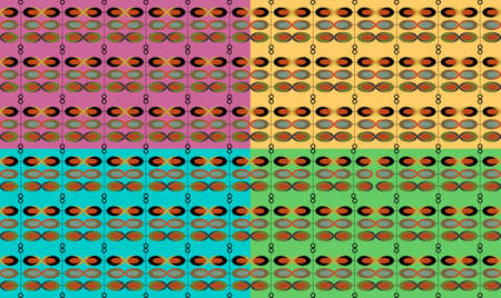 Abstract vintage design pattern made from circles and ovals. Green, yellow, red and blue color. Vector
