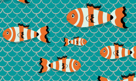 Composition of fishes on bleumarin color scales background