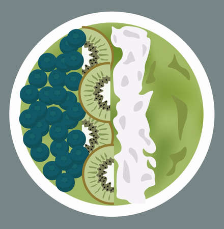 Green porridge with blueberries, kiwi slices and whipped cream on top Illustration
