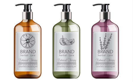 Bottles of organic shampoo with herbal care. Various plants and colors. Mint, orange and lavender Vector Illustratie