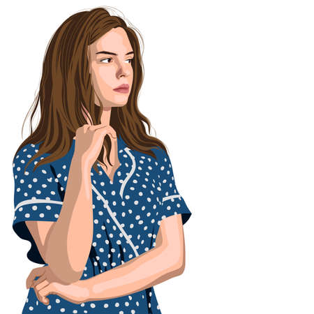 Serious young girl in blue polka dot dress thinking about something Illustration