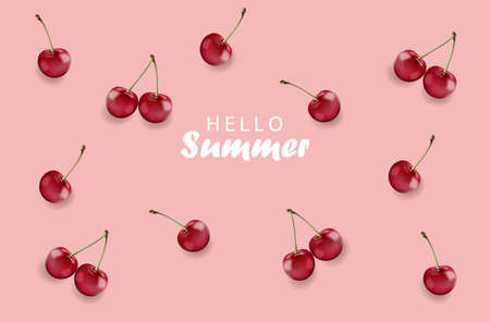 Hello summer banner with cherry fruits and rose background. Vector Vettoriali