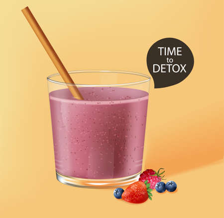 Old fashioned glass with bamboo straw. Berry smoothie with strawberry and blueberry decoration. Time to detox. Vector