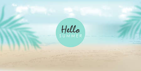Hello summer banner with beach, sea and palm leaves. Cloudy day with breeze. Vector