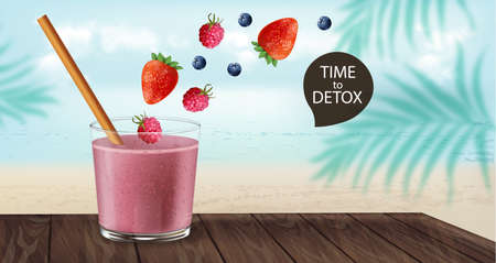 Time to detox banner with old fashioned glass and bamboo straw. Berry smoothie with strawberry and blueberry decoration flying. Beach and palm leaves on background. Vector