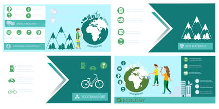 Ecology banner set template Vector. Earth, energy, Eco transport and sustainable materials. Green info graphic icon Ilustrace