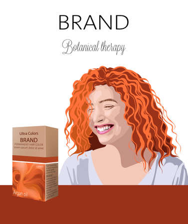 Box with cosmetics for hair with place for text. Smiling curly ginger woman in background Botanical therapy. Your brand