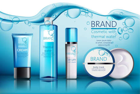 Set of cosmetic with place for text. Thermal water, serum, cream, body mask. Realistic vector. Product placement. Water with bubbles on background
