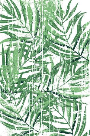 Tropical fern leaves pattern in grunge design. Green color Stock Illustratie