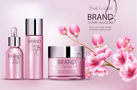 Cherry pink cosmetics brand. Set of bottles with essence, face cream, lotion. Product placement. Cherry blossom. Covered in dew. Place for brand. Realistic vectors