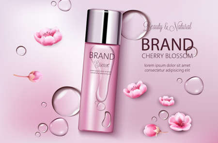 Bottle of cosmetics cherry blossom. Product placement. Natural beauty. Place for brand. Water drops background. Realistic vectors