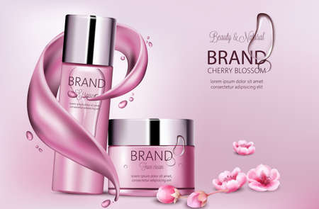 Set of cosmetics with essence and face cream. Product placement. Cherry blossom. Splash waves and drops. Place for brand. Realistic vectors Stock Illustratie