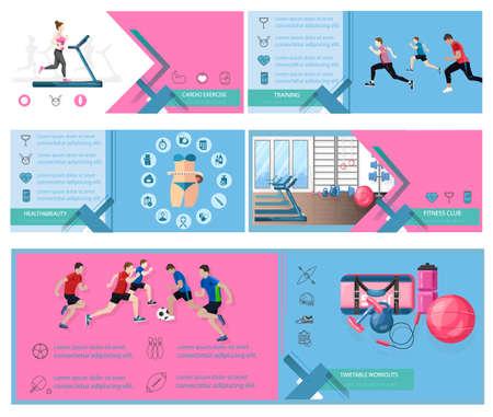 Digital Vector sports banner templates. Info graphic presentation icons design concepts Stock Illustratie