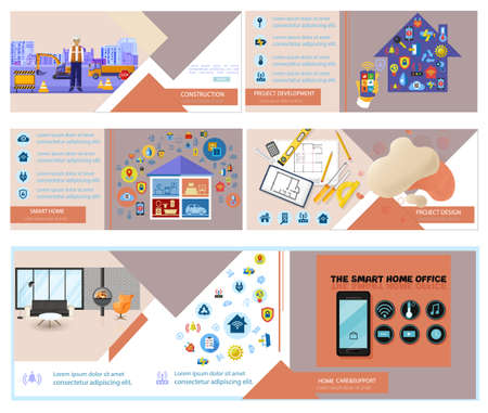 Construction banner template. Online consulting, smart home business info graphic. Project design flyer layouts Stock Illustratie