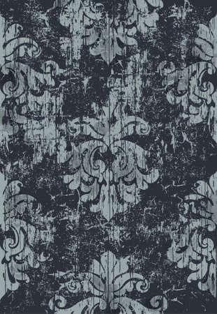 Damask vintage pattern. Grunge design. Dark and light colors
