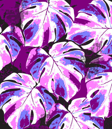 Abstract summer monstera leaves pattern. Bright colors