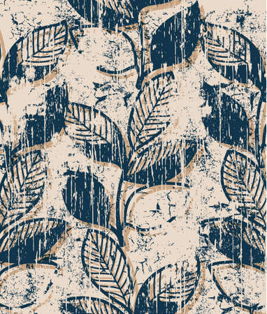 Twigs with leaves vintage pattern design. Grunge style Stock Illustratie