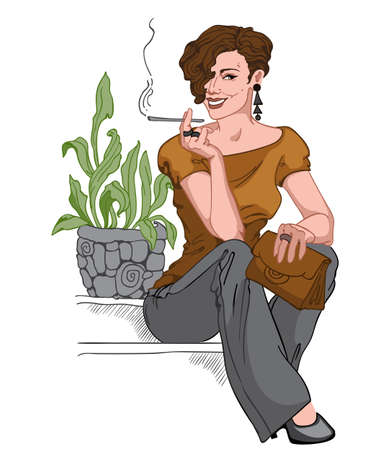 Smiling short haired brunette dressed in black pants, earrings and pants, brown purse and blouse sitting on staircase and smoking a cigarette