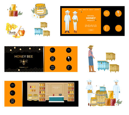 Beekeepers Vector honey banner. Honey theme poster template