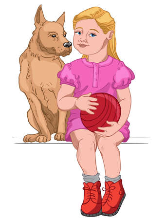 Blonde girl dressed in pink dress and red boots holding a red ball while sitting with her dog Vectores