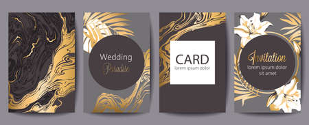 Set of greeting cards with place for text. Wedding paradise. Invitation. Dark brown, gray and gold colors. Tropical flowers