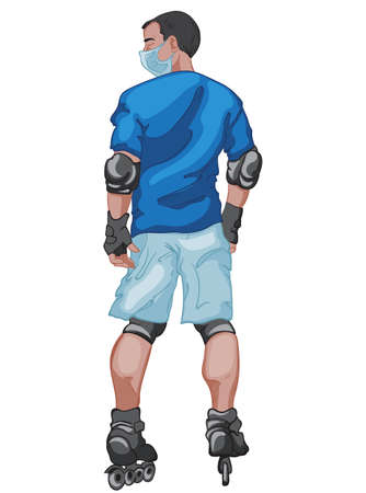 Black haired man dressed in blue t-shirt and shorts wearing a surgical mask while he is rollerblading Illustration