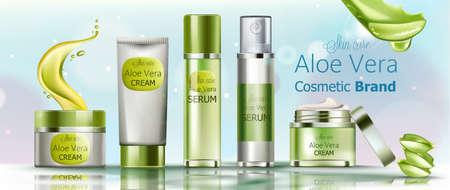 Set of cream and serum cosmetics for skin care. Aloe vera cosmetic brand Illustration