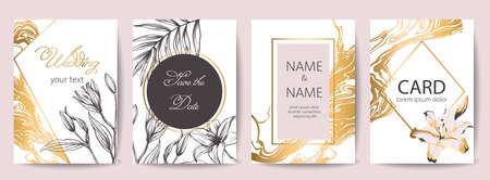 Set of wedding celebration cards with place for text. Save the date. Tropical flowers decoration. Golden, white and black colors