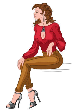 Sexy brunette in red blouse, brown pants and gray high heels posing while sitting Ilustracja