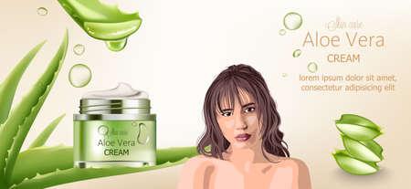Aloe vera cream for skin care. Bare brunette woman advertising. Aloe background Illustration