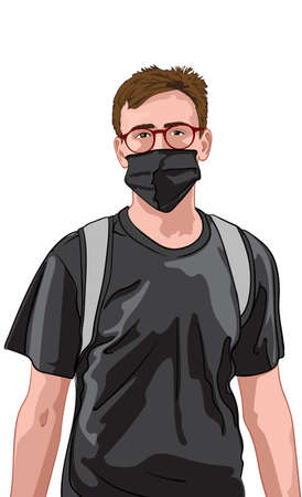 Young man with red glasses and black t-shirt wearing facial mask and backpack. Travelling during corona virus pandemic Ilustração