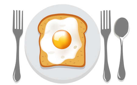 Breakfast composition of toasted bread with fried egg on a plate with two forks and a spoon nearby