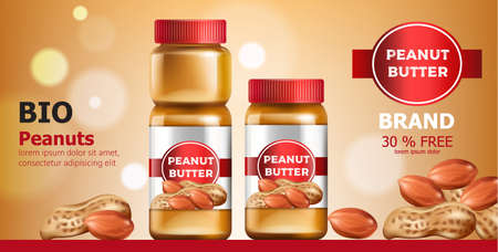 Composition of three jars with peanut butter. Place for text. Bio. On Sale. Realistic. 3D Mockup Vettoriali