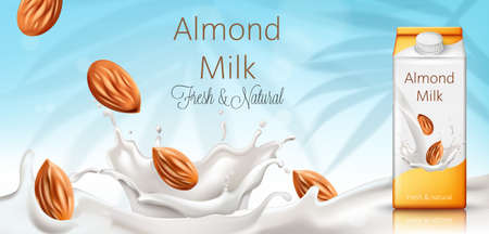 Carton box with almond milk. Nuts and milk splashes. Fresh and natural. Realistic. 3D Mockup