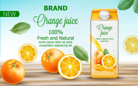 Carton box with orange juice surrounded by citruses and leaves. With vitamin from real fruit. Fresh and natural product. With place for text. Realistic