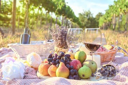Fresh fruits and wine glass picnic outdoors. Vine yard background tasty food lifestyle naturals 版權商用圖片
