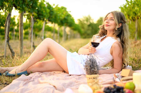 Woman at the picnic with a glass of wine. Vine yard green backgrounds Standard-Bild